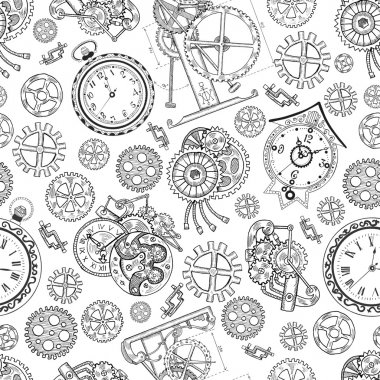 Seamless graphic background with clocks
