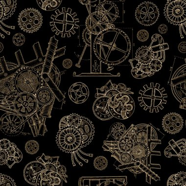 Seamless linear background with vintage cogs
