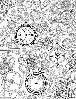 Coloring book page with mechanical details