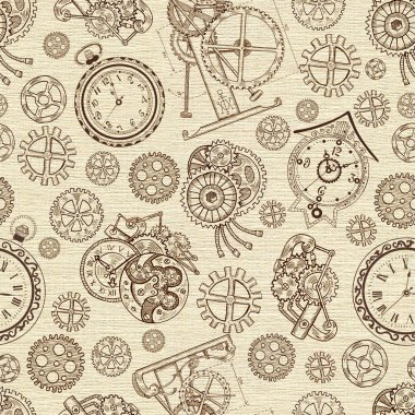Seamless textured background with vintage clocks