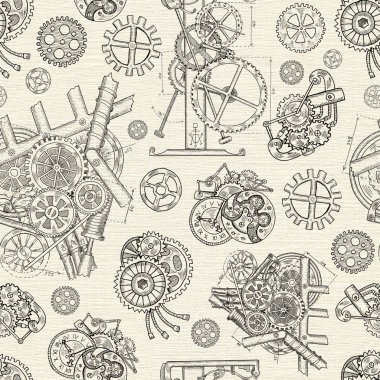 Seamless background with vintage cogs