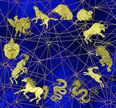 Fotografia Sfondo con grafico di dodici animali dello zodiaco