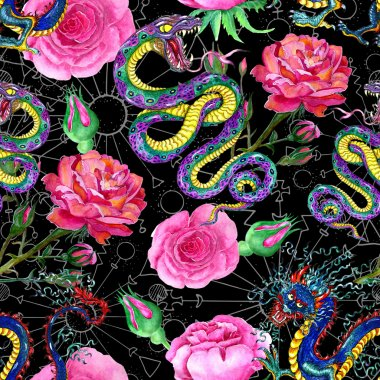 Background with snake, dragon and flowers