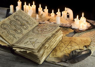 Open Grimoire book with candles