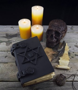 Magic book, skull and candles