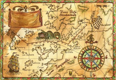 Old Pirate map with wind rose