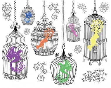 Design set with birds in cages