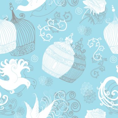 Pattern with cages and birds on blue