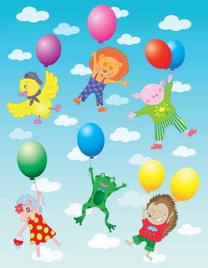 Animals flying on balloons