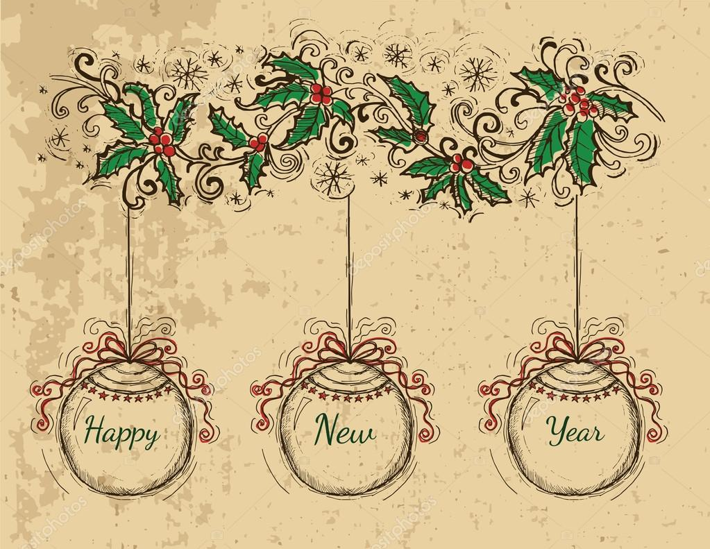 vintage new year card with balls stock vector