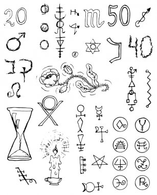 Graphic black and white set with magic and mystic signs and symbols. Hand drawn engraved collection stock vector
