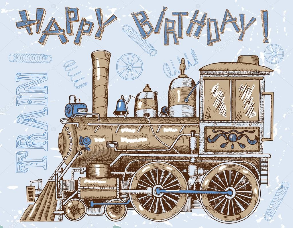 Vintage happy birthday card with train stock vector samiramay vintage happy birthday card with train stock vector bookmarktalkfo Image collections