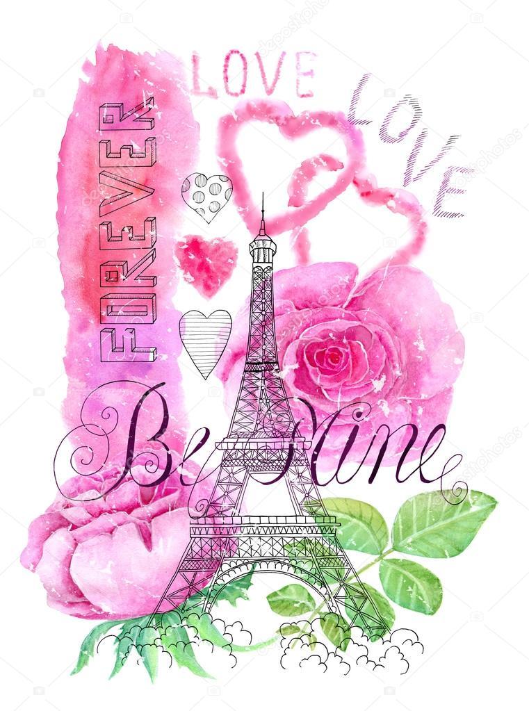 Eiffel Tower And Love Symbols Stockfoto Samiramay 97420104