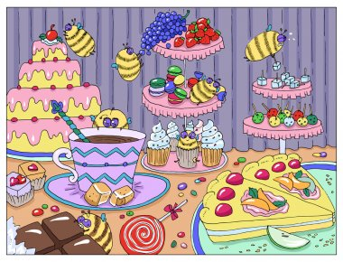 Funny bees and candies