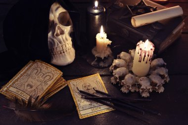 tarot cards with candle