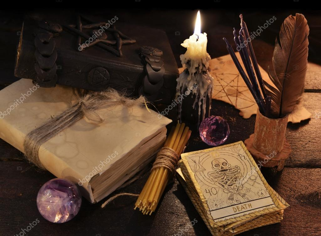 Tarot cards with candle — Stock Photo © Samiramay #99969140