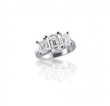 Emerald cut three stone trinity diamond engagement wedding ring