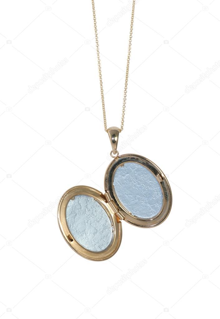 goedkoopste goedkoop lage prijs Leeg gouden vintage medaillon op een open ketting ...