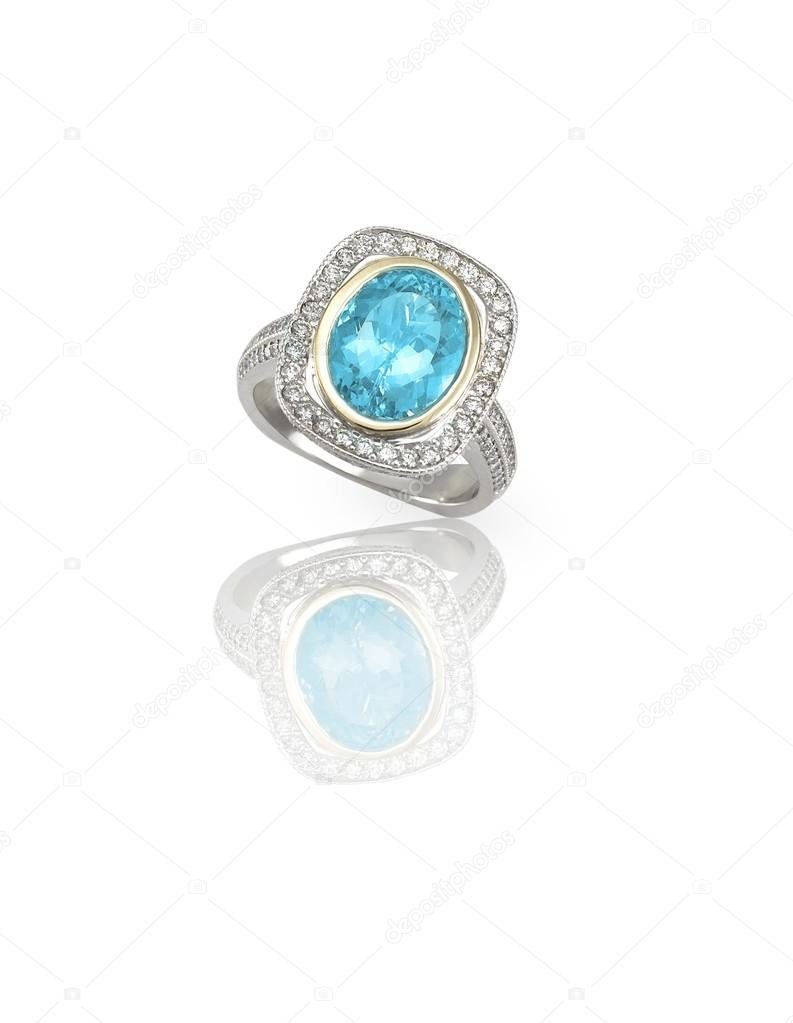 διαμαντένιο δαχτυλίδι μπλε τοπάζι — Φωτογραφία Αρχείου ... bcc473cd838