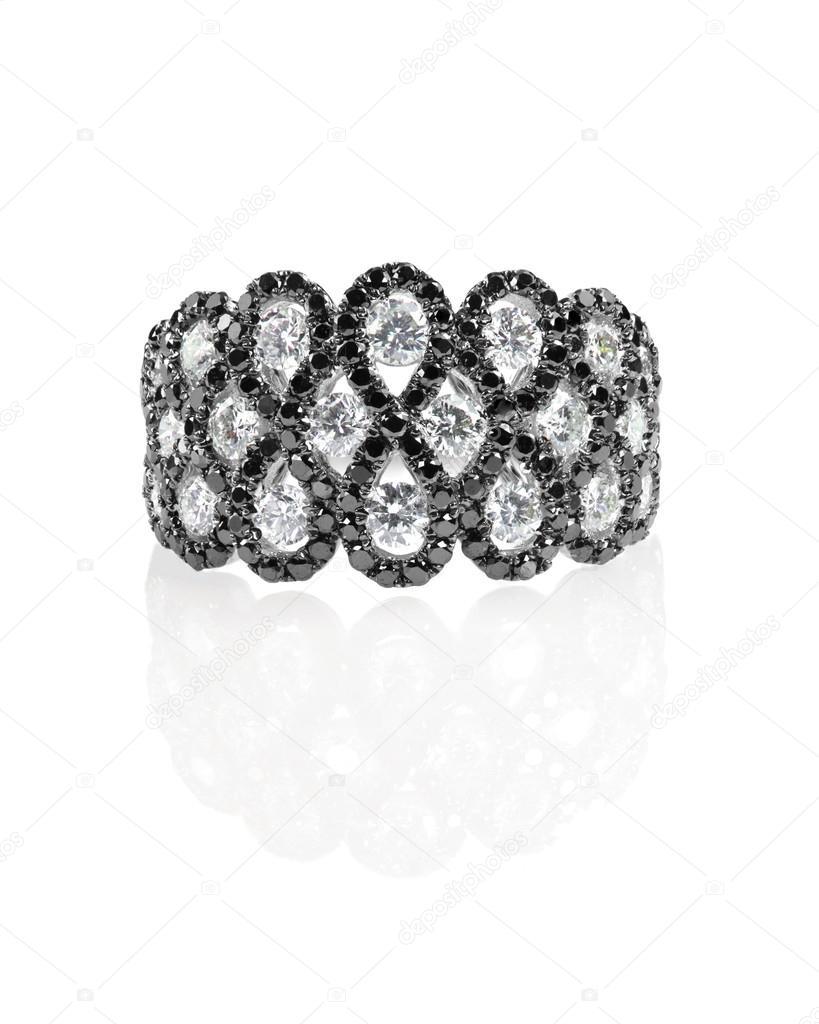 diamante negro onyx fashion novia anillo de compromiso aislado en ...