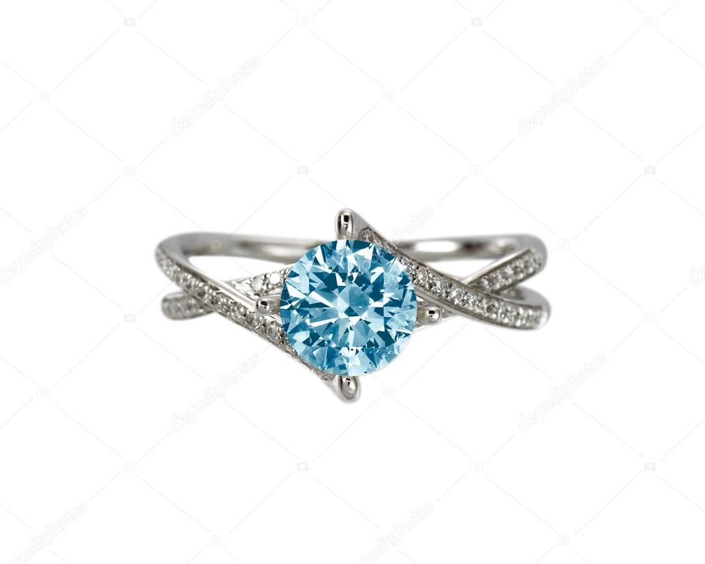 ring american colour blue tinted diamond a gold plated in