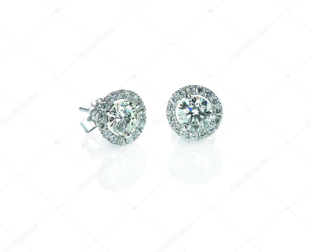 Beautiful Halo Diamond Stud Earrings With Reflection Isolated On White –  Stock Image