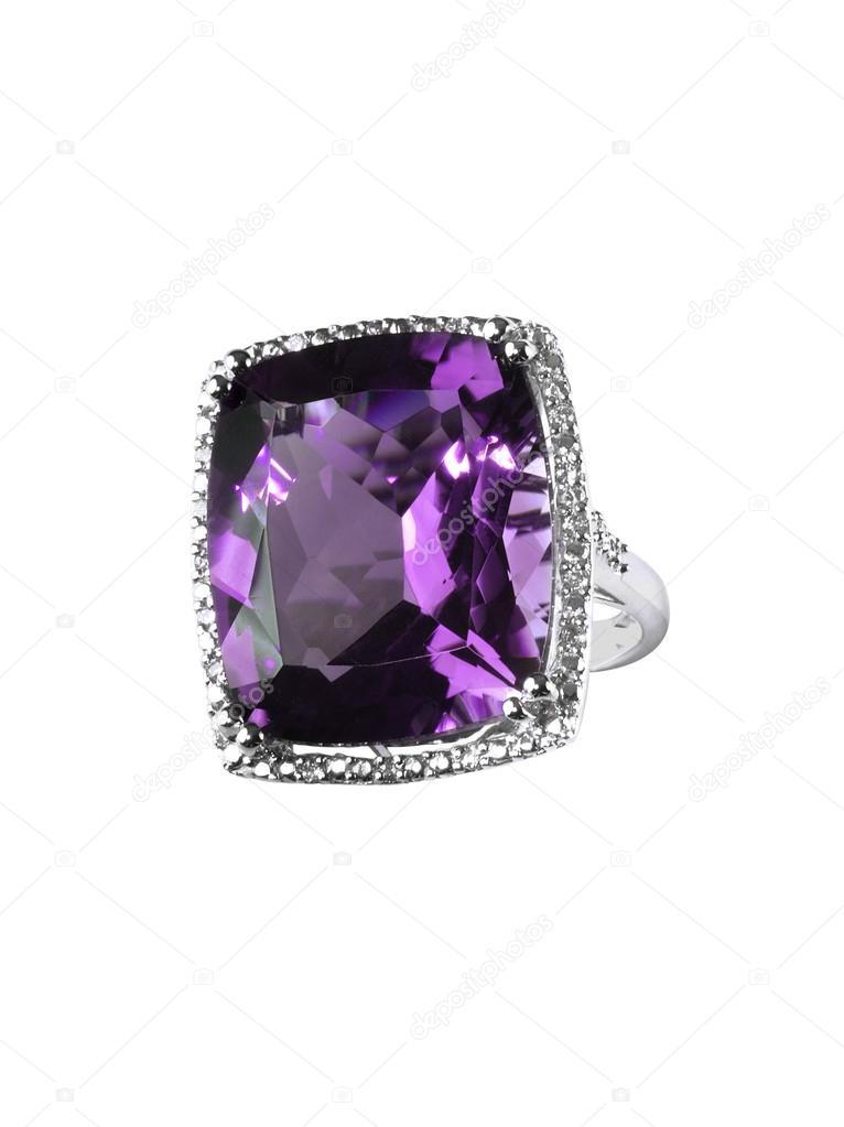 Diamond Fialovy Ametyst Prsten Zasnubni Svatebni Svatebni Drahokam