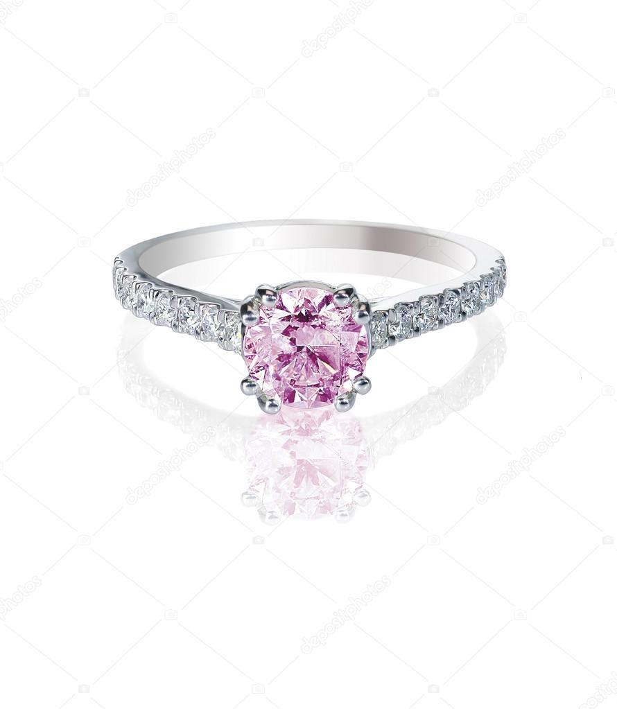 Fiançailles Rose Sur Isolé Bague Mariage Diamant Blanc De mN0O8nwv