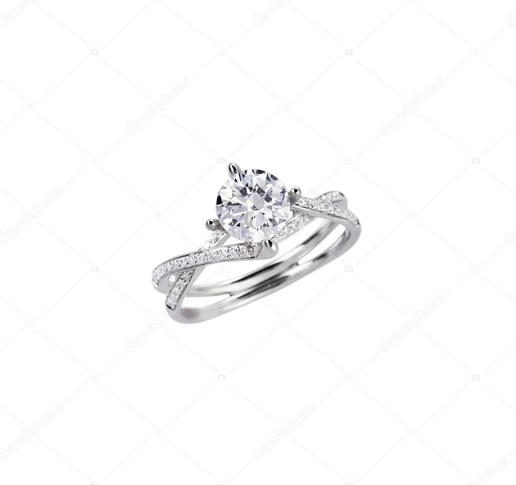 Diamant Soliter Zasnubni Snubni Prsten Izolovane Na Bilem Stock