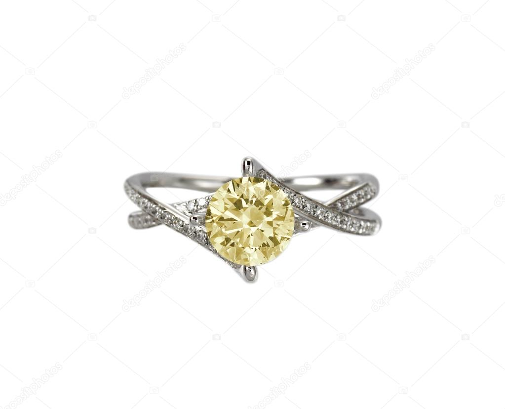 255050eaf87d Diamante amarillo de color citrino topacio anillo de compromiso — Fotos de  Stock