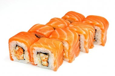 Sushi , roll, Japanese seafood sushi , roll on a white background