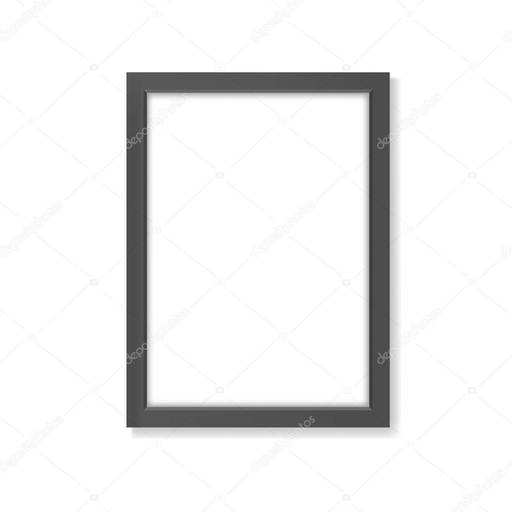 Maqueta del realista marco negro rectángulo A4 — Archivo Imágenes ...