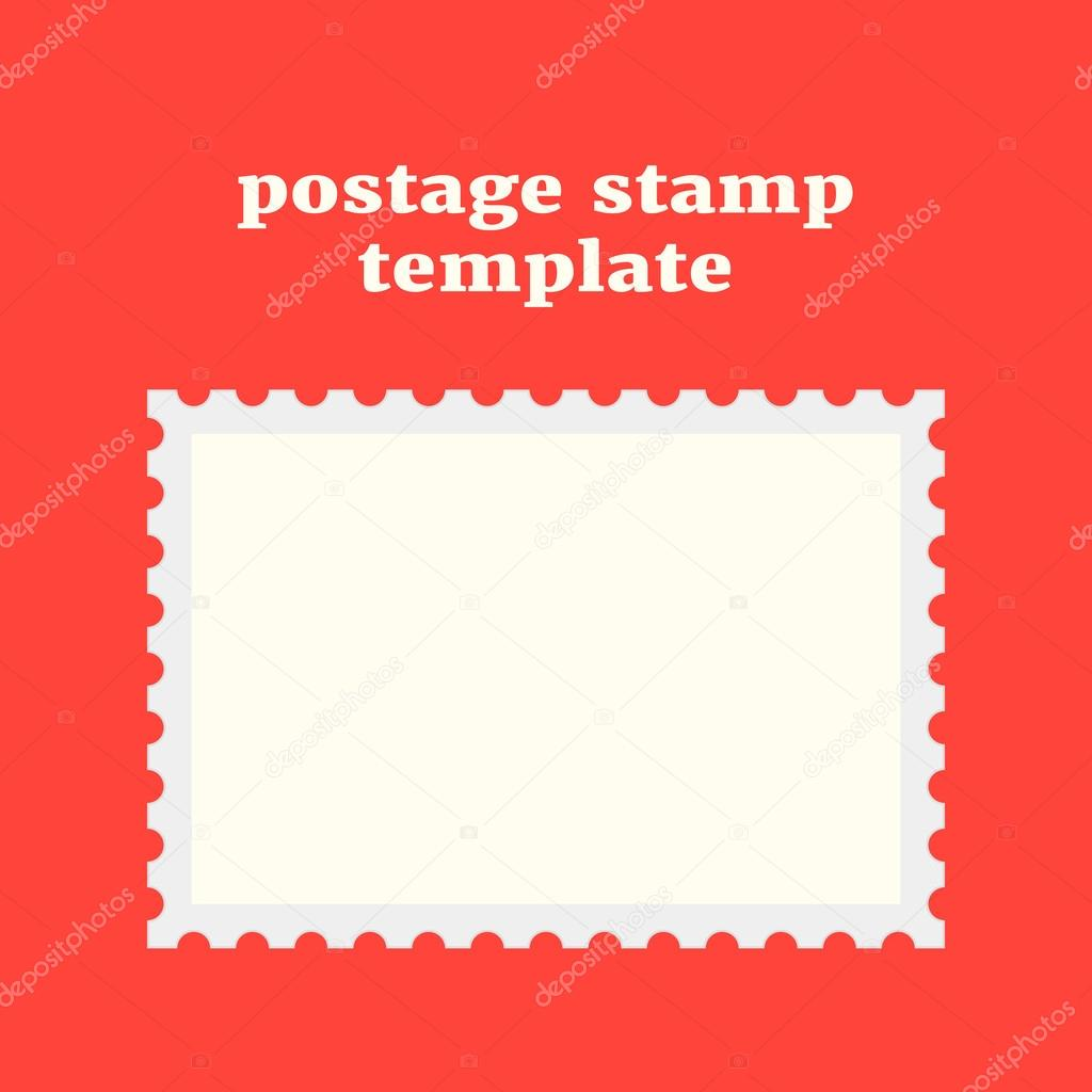 Postage Stamp Template On Red Background U2014 Stock Vector