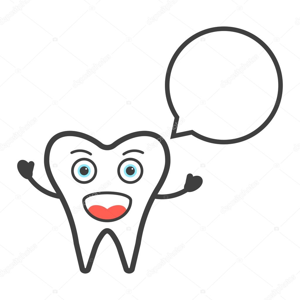 funny tooth character with speech bubble — Stock Vector © HoldenKolf ...