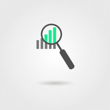 magnifier and graph icon with shadow