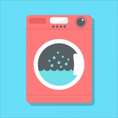 red washing machine in flat style