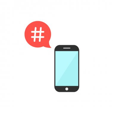 hashtag in red speech bubble with smartphone