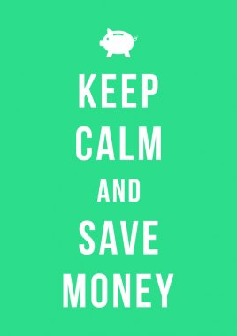 keep calm and save money card with piggy bank