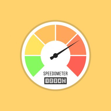 speedometer icon isolated on yellow background