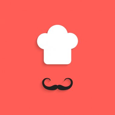 chef icon with mustache isolated on red background