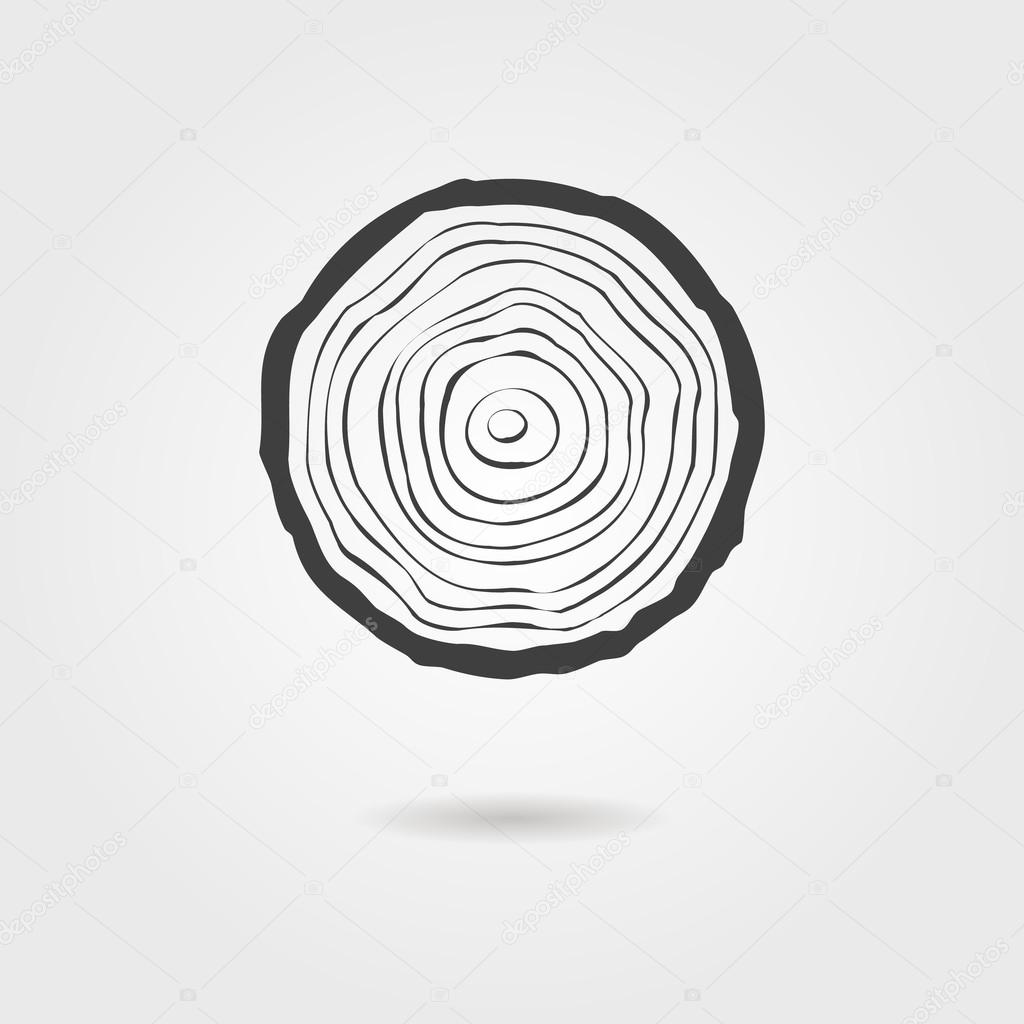 black tree rings icon with shadow