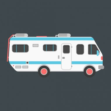 white travel camper van isolated on dark background