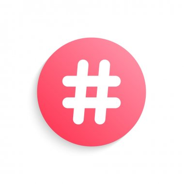 red hashtag button with shadow