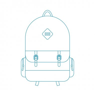 blue outline backpack