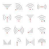 Fotografie einfache Reihe von dünnen roten und schwarzen Wifi icons