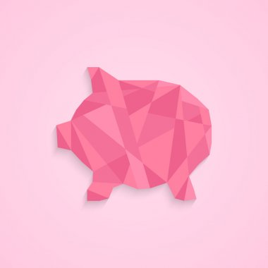 low poly piggy bank