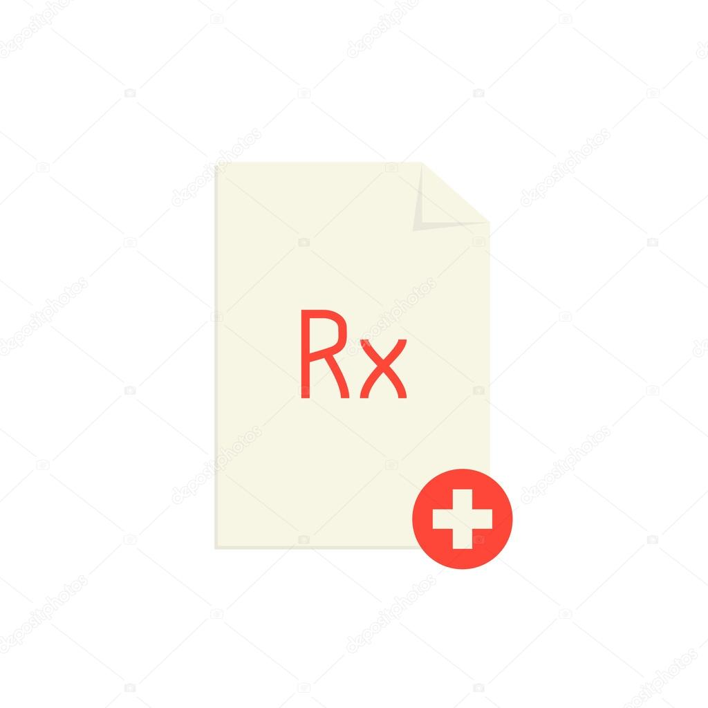 Medical Prescription With Red Rx Symbol And Cross Stock Vector
