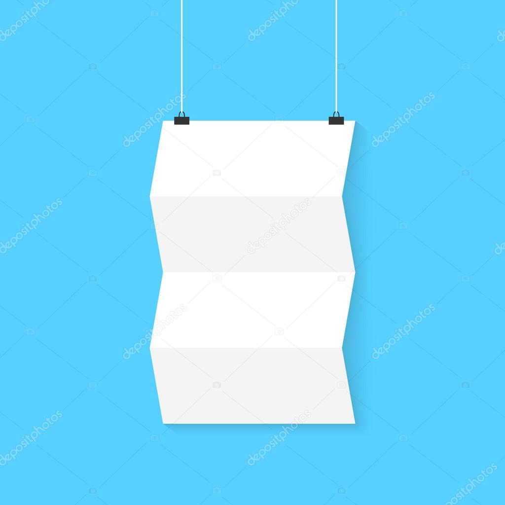 hanging curved poster on blue background