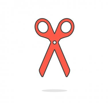 simple red scissors icon with shadow