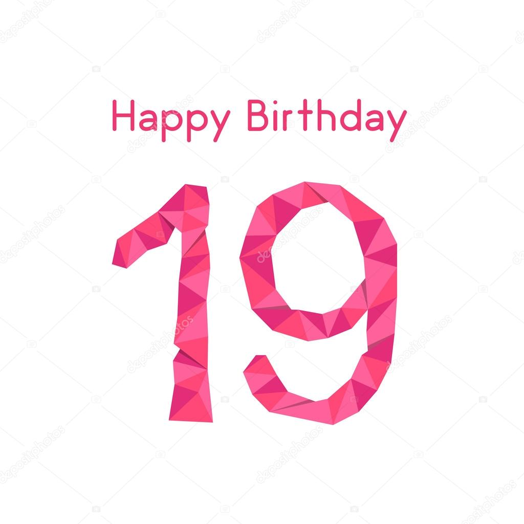 Pink polygonal 19th happy birthday — Stock Vector © HoldenKolf #85881464
